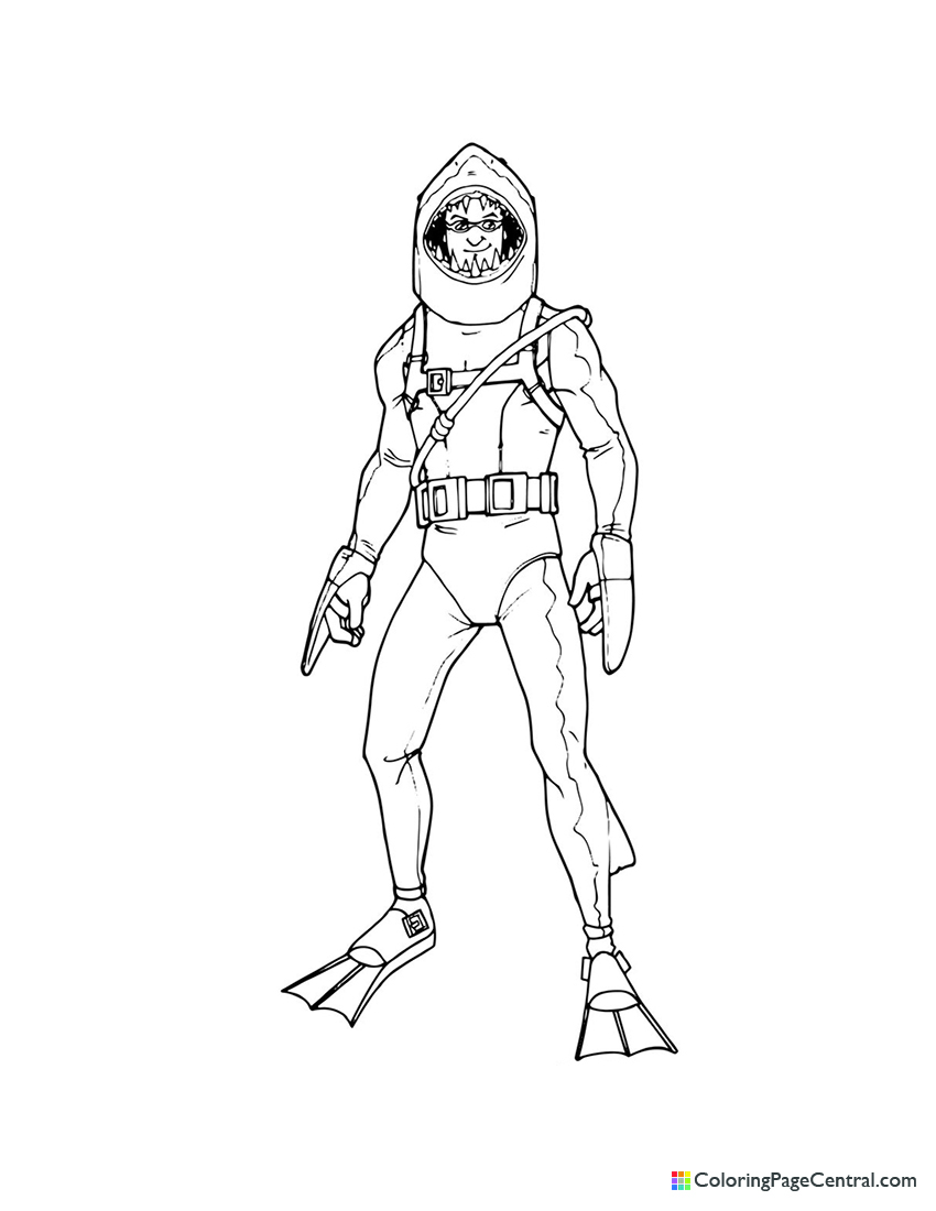 Fortnite - Chomp Sr Coloring Page | Coloring Page Central