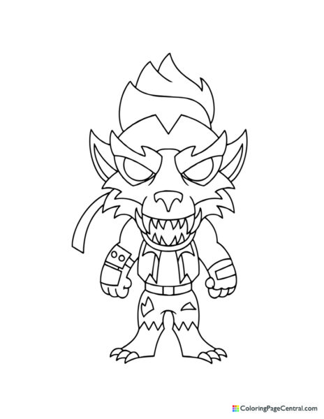 Fortnite – Dire Werewolf Chibi Skin Coloring Page