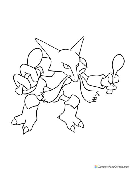 Pokemon – Alakazam Coloring Page