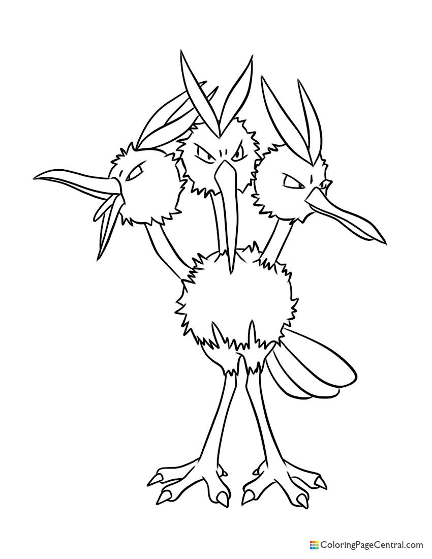 Pokemon - Dodrio Coloring Page