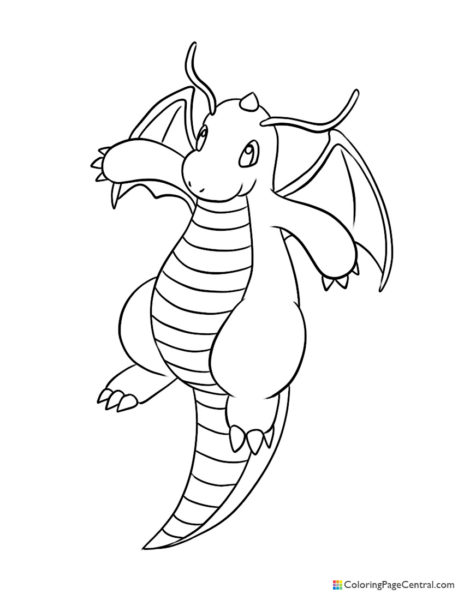Pokemon – Dragonite Coloring Page