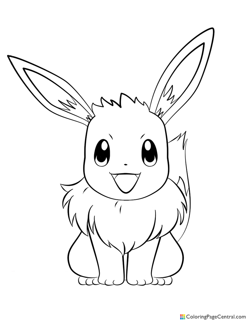 Pokemon - Eevee 02 Coloring Page