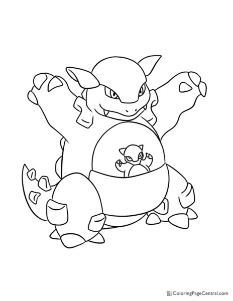 Pokemon – Kangaskhan Coloring Page
