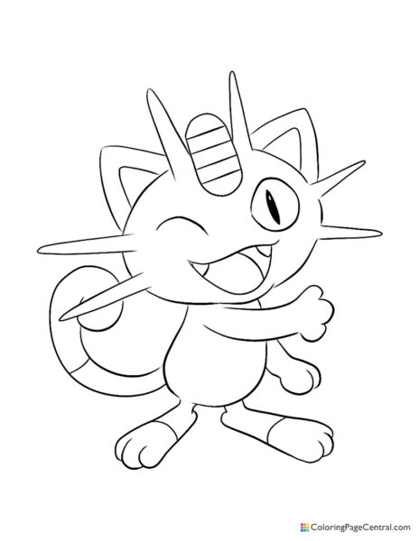 Pokemon – Meowth 02 Coloring Page