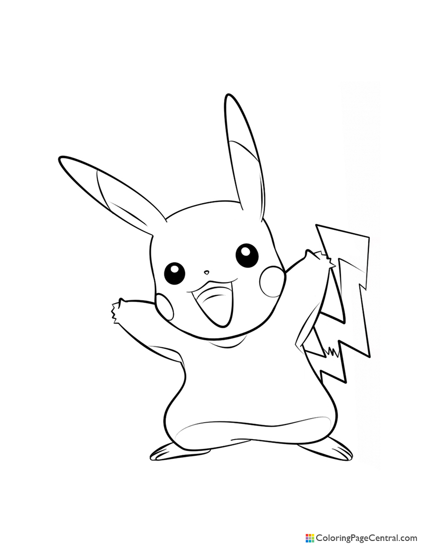 Pokemon - Pikachu 02 Coloring Page | Coloring Page Central