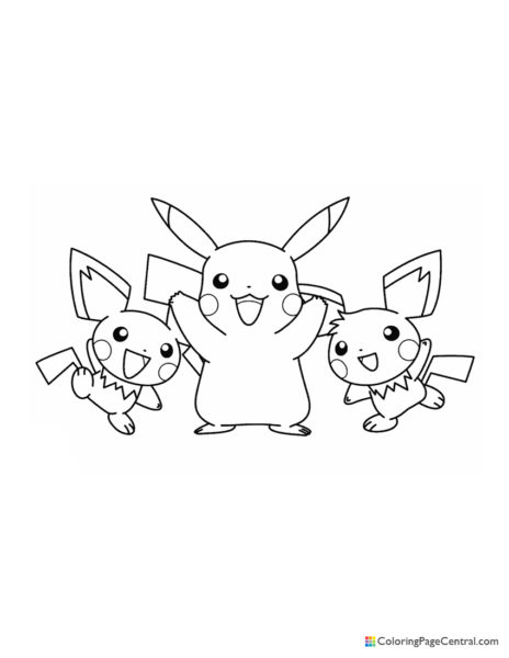 Pokemon – Pikachu and Pichu Coloring Page