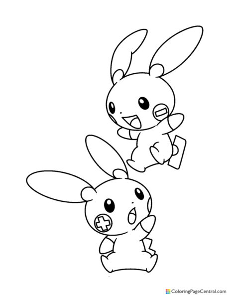 Pokemon - Plusle and Minun Coloring Page