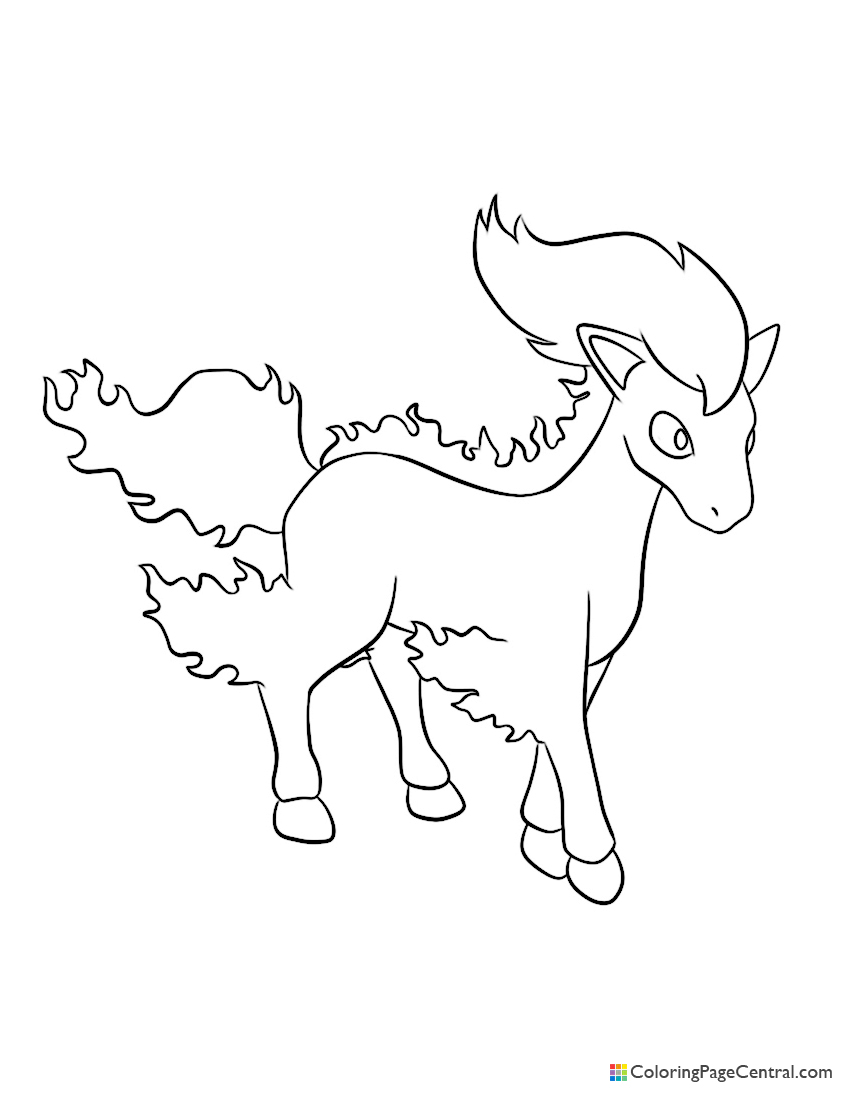 Pokemon Ponyta Coloring Page Coloring Page Central